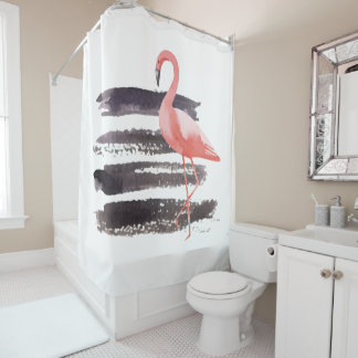 Artsy Pink Watercolor Flamingo Brush Strokes Lines Shower Curtain