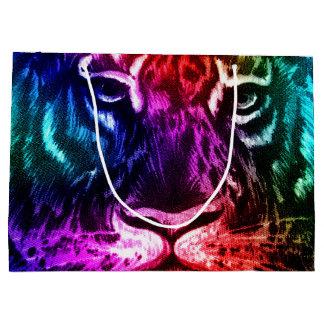 Artsy Rainbow Tiger Large Gift Bag