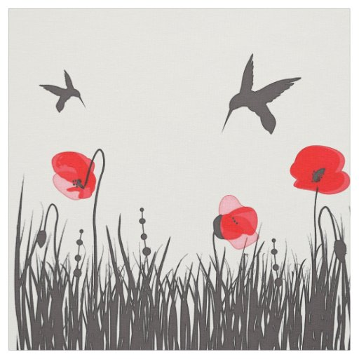 Artsy Red Poppies and Hummingbirds Fabric