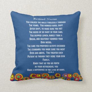 Artsy Retired Nurse Poem Pillow Navy Blue
