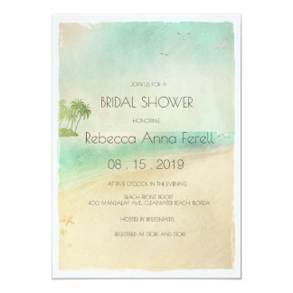 Artsy Retro Vintage Peaceful Beach Bridal Shower Card