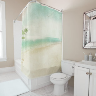 Artsy Retro Vintage Peaceful Beach Home Bathroom Shower Curtain