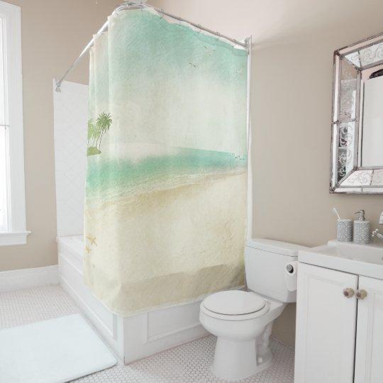 Artsy Retro Vintage Peaceful Beach Home Bathroom Shower