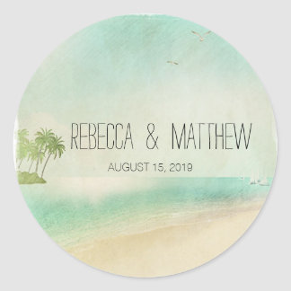 Artsy Retro Vintage Peaceful Beach Wedding Custom Classic Round Sticker