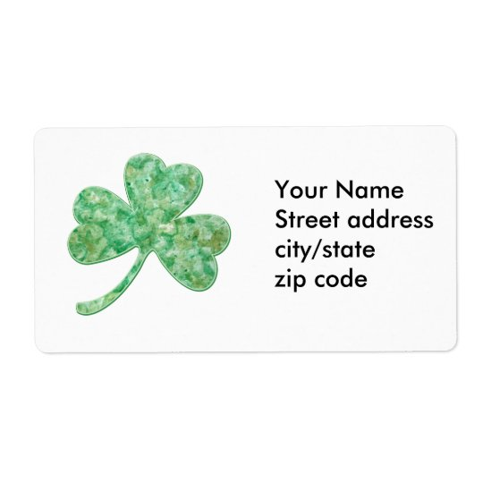 Artsy Shamrock for St Patricks Day Shipping Label