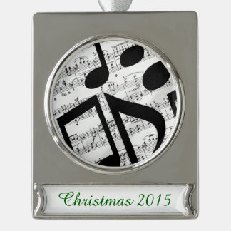 Artsy Sheet Music Silver Plated Banner Ornament