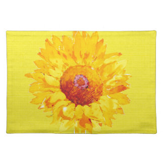 Artsy Sunflower on Yellow Placemats
