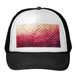Artsy Vintage Pink Grunge Floral Cross Pattern Art Trucker Hat