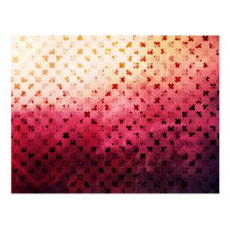 Artsy Vintage Pink Grunge Floral Cross Pattern Art Postcard