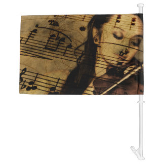 Artsy Violin Music Car Flag