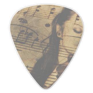 Artsy Violin Music White Delrin Guitar Pick