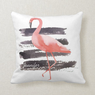 Artsy Watercolor Flamingo Brushed Line Personalize Throw Pillow