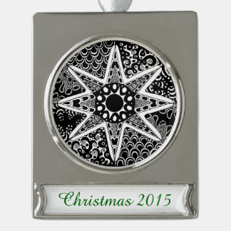Artsy Zentangle Star Silver Plated Banner Ornament