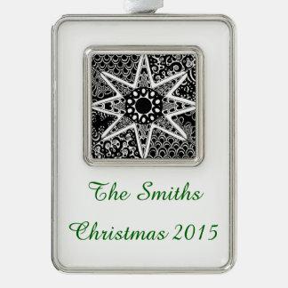 Artsy Zentangle Star Silver Plated Framed Ornament