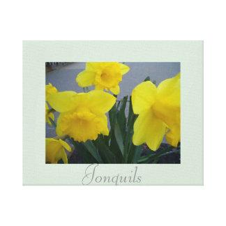 Artwork Jonquils Flower Decor Yellow Green Gallery Wrap Canvas