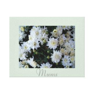 Artwork Mums Flower Decor White Green Canvas Print