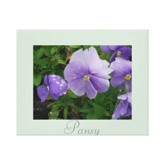 Artwork Pansy Flower Decor Purple Green Stretched Canvas Print