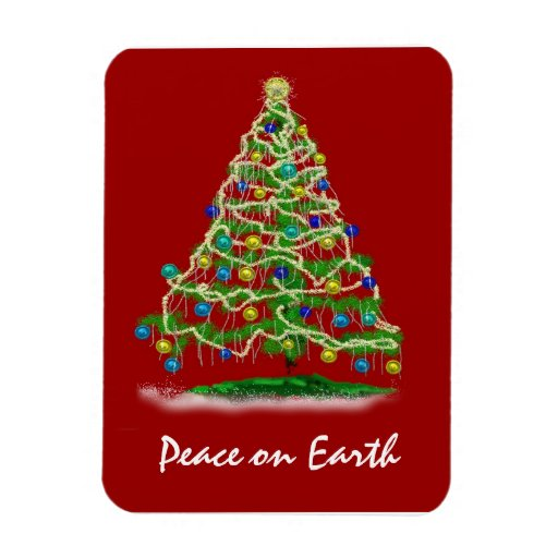 Arty Abstract Christmas Tree on Christmas Red Vinyl Magnet