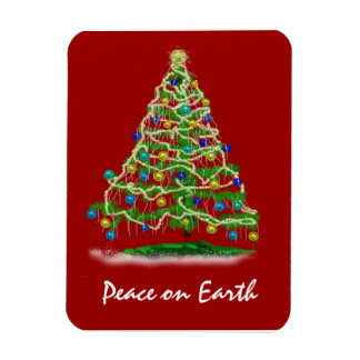 Arty Abstract Christmas Tree on Christmas Red Rectangular Photo Magnet