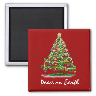 Arty Abstract Christmas Tree on Christmas Red Square Magnet
