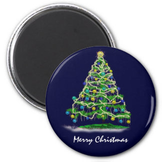Arty Abstract Christmas Tree on Midnight Blue 6 Cm Round Magnet
