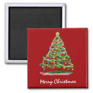 Arty Abstract Christmas Tree Square Magnet