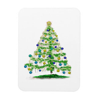 Arty but Simple Christmas Tree Abstract Rectangular Photo Magnet