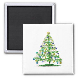 Arty but Simple Christmas Tree Abstract Square Magnet