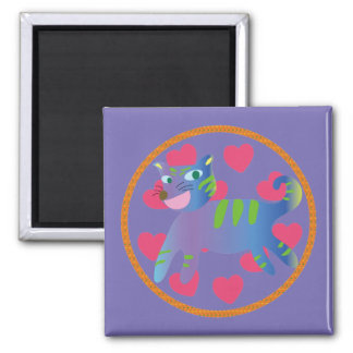 Arty Cat Square Magnet