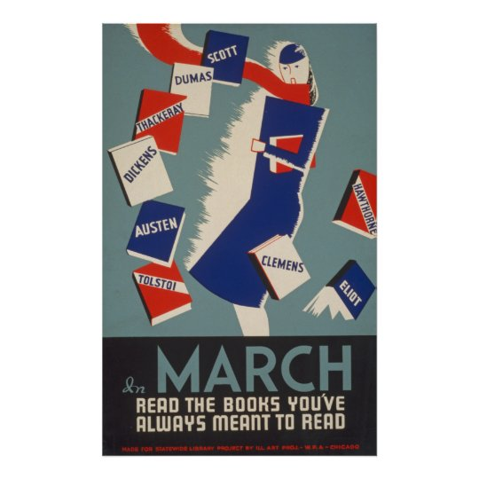 Arty Deco March Reading WPA Vintage Poster