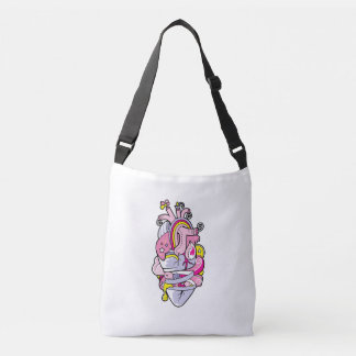 Arty Heart Cute Colourful Cartoon Tattoo Tote Bag