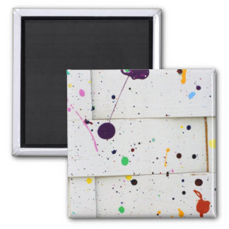 Arty Paint Splatter Dots Colorful Woven Wood Fence Square Magnet