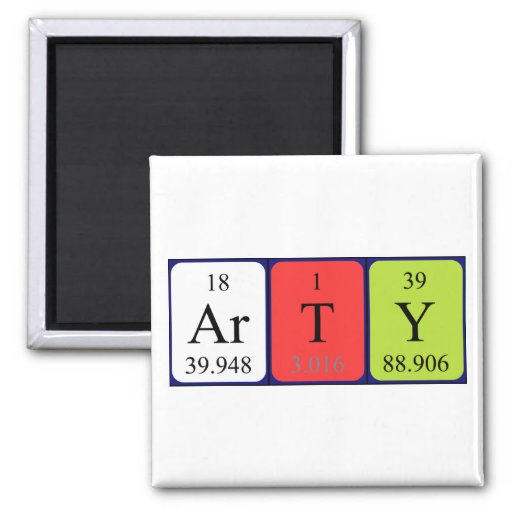 Arty periodic table name magnet