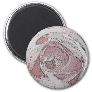 arty pink rose 6 cm round magnet