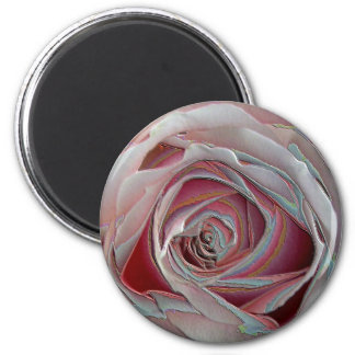 arty pinky rose 6 cm round magnet