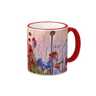 Arty poppies coffee mug