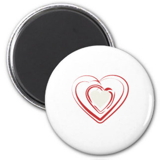 Arty Red Heart 6 Cm Round Magnet