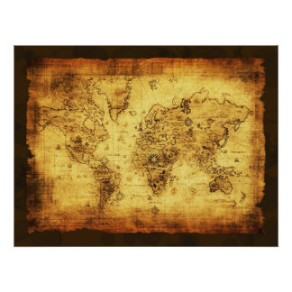 Arty Vintage Old Gold World Map Poster