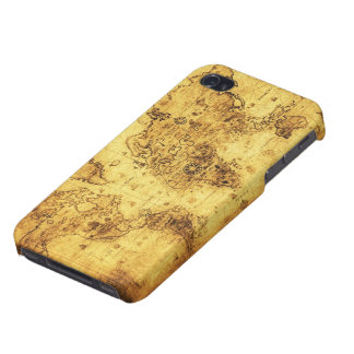 Arty Vintage Old World Map iPhone 4 Savvy Case Covers For iPhone 4