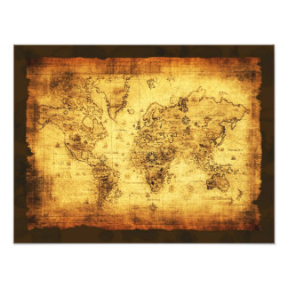 Arty Vintage Old World Map Print Photo