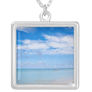 Aruba, beach and sea silver plated necklace