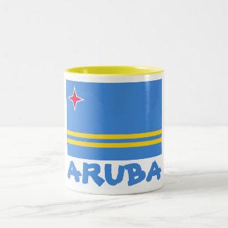 Aruba Flag Customizable Blue Text Two-Tone Coffee Mug