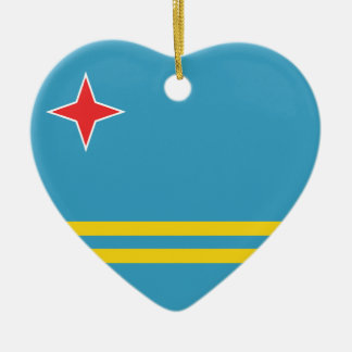 Aruba Flag Heart Ornament
