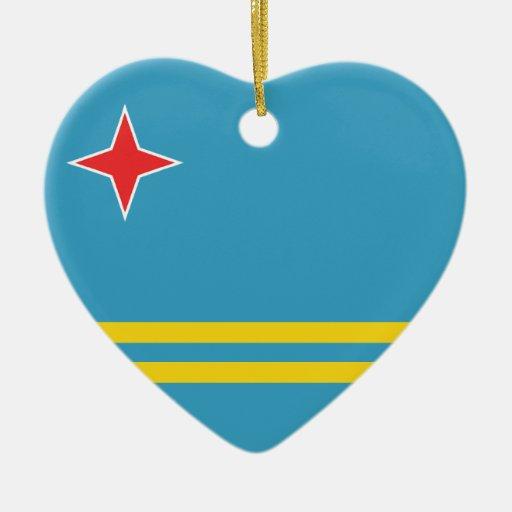 Aruba Flag Heart Ornament