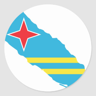 Aruba flag map classic round sticker