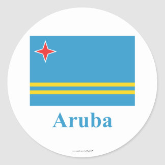 Aruba Flag with Name Classic Round Sticker