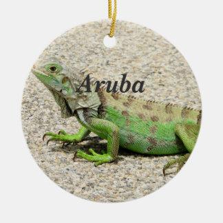 Aruba Green Iguana Round Ceramic Decoration