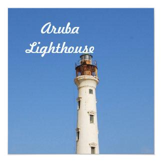 """Aruba Lighthouse 5.25"""" Square Invitation Card"""
