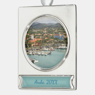 Aruba Marina Dated Silver Plated Banner Ornament
