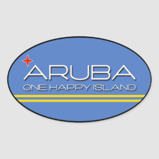 Aruba - One Happy Island Oval Sticker